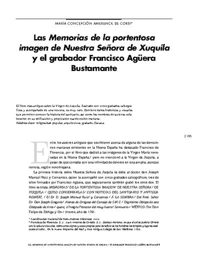 Las Memorias de la portentosa imagen de Nuestra Señora de Xuquila y el grabador Francisco Agüera Bustamante