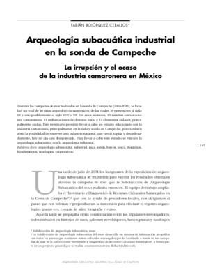 Arqueología subacuática industrial en la sonda de Campeche. La irrupción y el ocaso de la industria camaronera en México