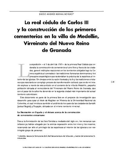 La Real cédula de Carlos III y la construcción de los primeros cementerios en la villa de Medellín, Virreinato del Nuevo Reino de Granada