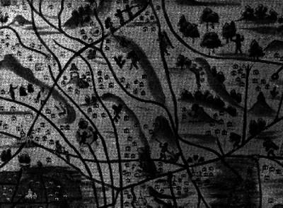 Mapa antiguo del Valle de México con aspectos indígenas y españoles