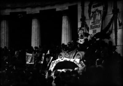 Manifestacion de trabajadores del calzado, en el Hemiciclo a Juárez