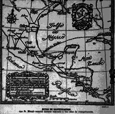 Mapa parcial de México con Rutas de Santificación