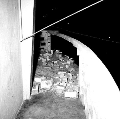 Balcón de la presidencia municipal de Acapulco después del atentado dinamitero