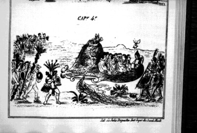Lámina del Códice Durán que representa a los mexicas en el cerro de Chapultepec y el asedio de los chalcas