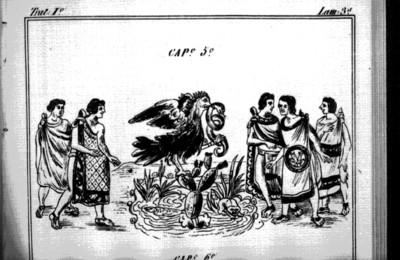 Llegada de los mexicas al sitio donde erigen Tenochtitlán, lámina del Códice Durán