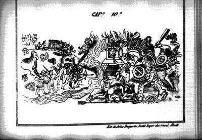 Guerra entre mexicas y tepanecas, lámina del Códice Durán