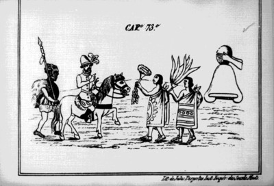 Códice Durán, de como recibieron los Tlaxcaltecas a Cortés, reprografía