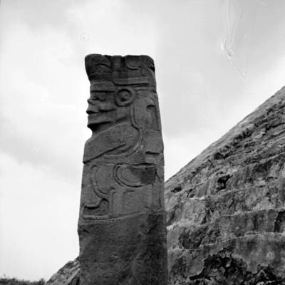 Escultura del dios Tajín ubicada en el edificio 5   Mediateca INAH
