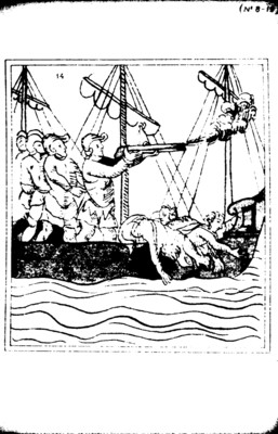 Lámina del Códice Florentino con una escena de la llegada de los españoles perteneciente al libro duodécimo, reprografía