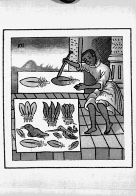 Hombre realiza trabajo de arte plumario, lámina del Códice Florentino, reprografía