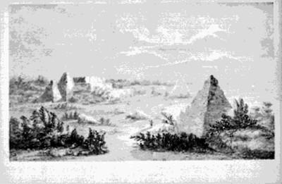 Grabado de la ciudad de Uxmal