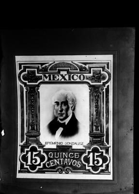 Estampilla de correos de 15 centavos con la imagen de Epigmenio González, retrato