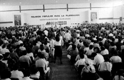 Reunión popular para la planeación de asentamientos humanos, dirigida durante la campaña de Miguel de la Madrid