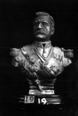 Busto de Porfirio Díaz elaborado en plata