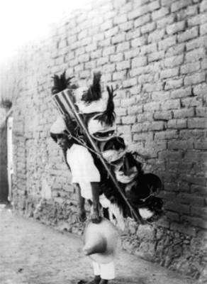 Hombre carga pollos con mecapal