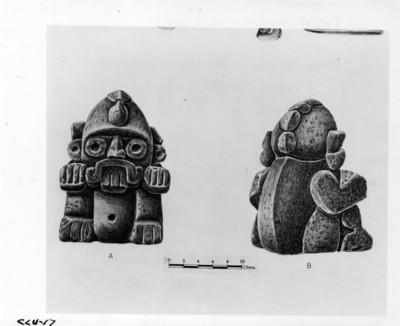 Dibujo de una vasija que representa a Tláloc procedente de La Ventilla