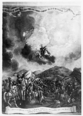 """""""Alegoría de la fundación de Querétaro"""", mural en el templo de la Santa Cruz de los milagros"""