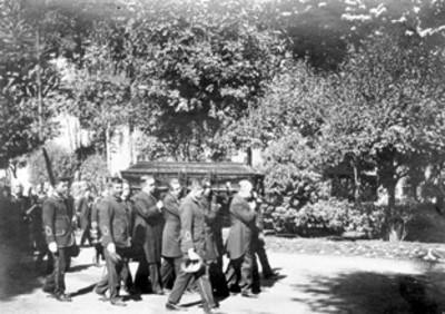 """""""El Gral. Díaz en los funerales de don Félix Romero""""[sic.]"""