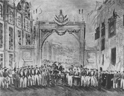 Entrada triunfal de Iturbide, reprografia de pintura