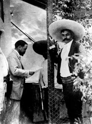 Emiliano Zapata durante una conferencia con Francisco I. Madero