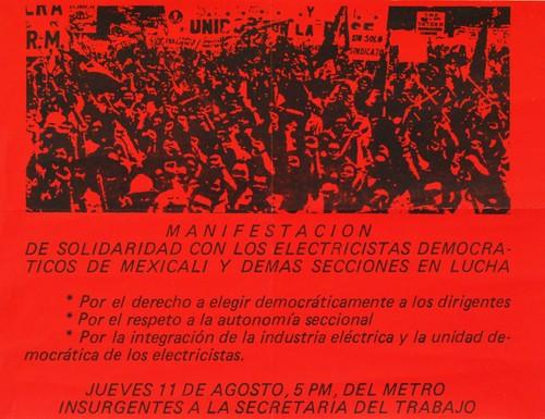 Manifestacion de apoyo a los electricistas de Mexicali