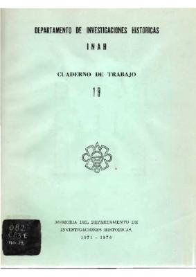 Memoria del Departamento de Investigaciones Históricas, 1971-1976