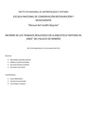 """Informe de los trabajos realizados en la Biblioteca """"Antonio M. Anza"""" del Palacio de Minería"""