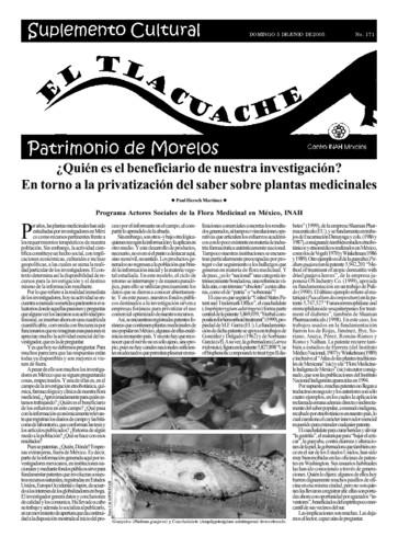 El Tlacuache Núm. 171 (2005)
