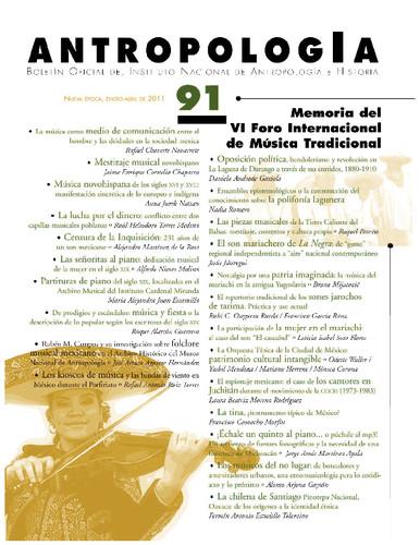 Antropología Num. 91 (2011) Memoria del VI Foro Internacional de Música Tradicional
