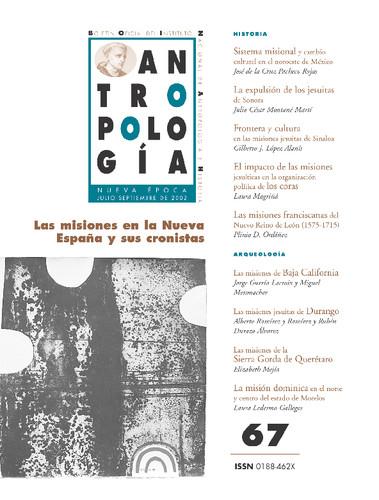 Antropología Num. 67 (2002) Las misiones en la Nueva España y sus cronistas