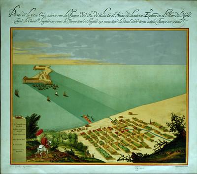 Puerto de la Vera Cruz núeva con la fuerça do San Juan de Ulúa en el Reino de la Núeva España en el