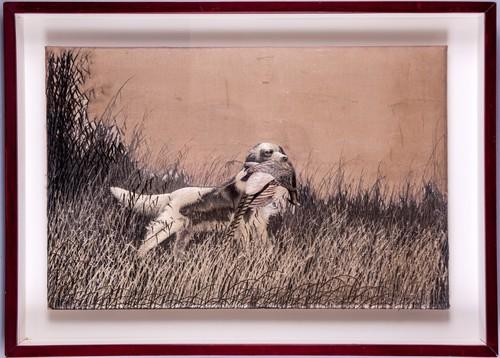 Perro de caza con faisán