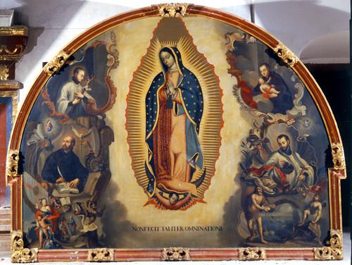 Virgen de Guadalupe rodeada de santos de la Compañía