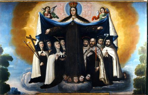 Patrocinio de la Virgen del Carmen a los santos de la Orden