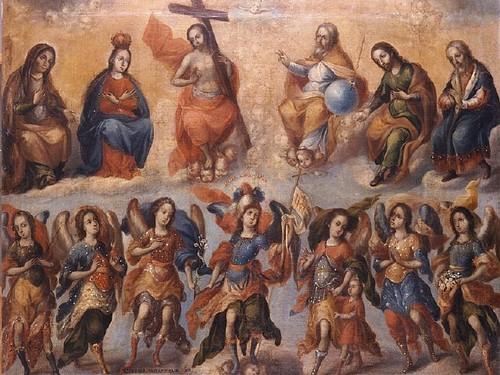 Los siete arcángeles con la Santísima Trinidad y santos