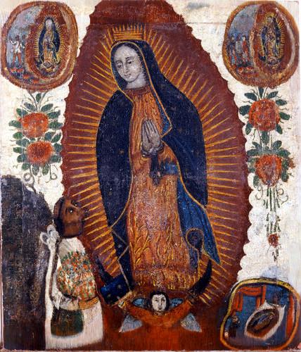 Virgen de Guadalupe con tres apariciones y Juan Diego