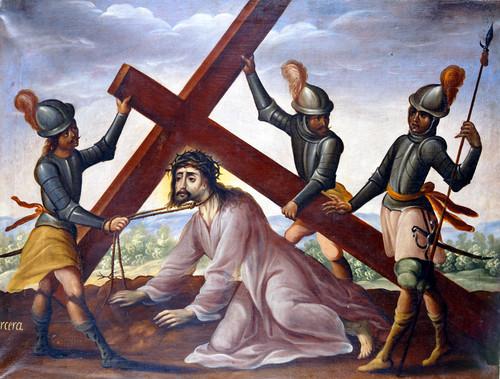 Jesús cae bajo el peso de la cruz