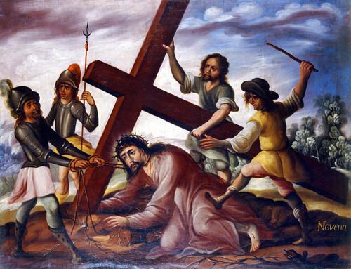 Jesús cae por tercera vez bajo el peso de la cruz