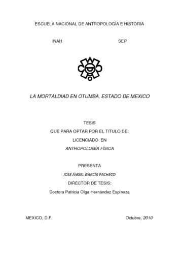 La mortalidad en Otumba, Estado de México