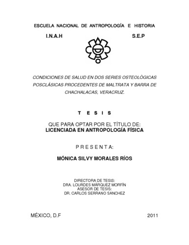 Condiciones de salud en dos series osteológicas posclásicas procedentes de Maltrata y Barra de Chachalacas, Veracruz