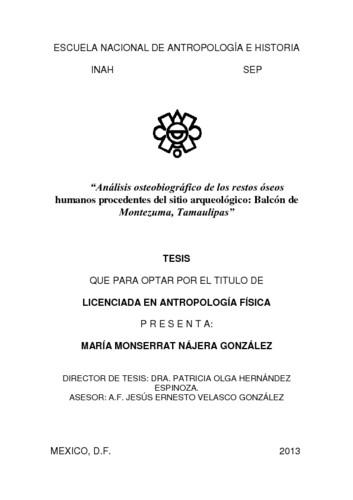 Análisis osteobiográfico de los restos óseos humanos procedentes del sitio arqueológico: Balcón de Moctezuma, Tamaulipas