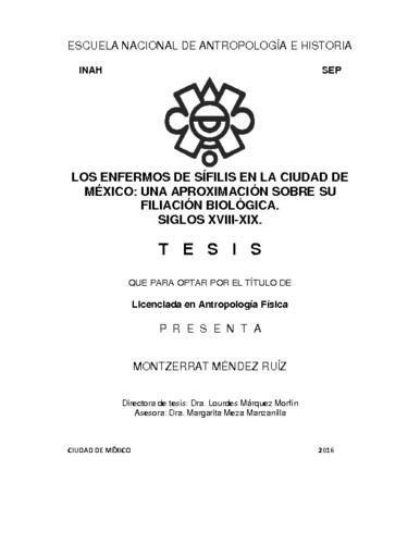 Los enfermos de sífilis en la Ciudad de México: una aproximación sobre su filiación biológica. Siglo XVIII-XIX