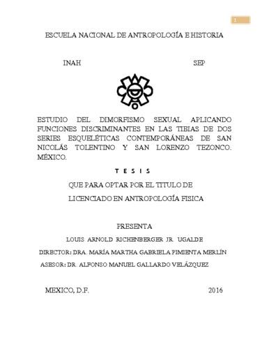 Estudio del dimorfismo sexual aplicando funciones discriminantes en las tibias de dos series esqueléticas  contemporáneas de San Nicolás Tolentino y San Lorenzo Tezonco, México