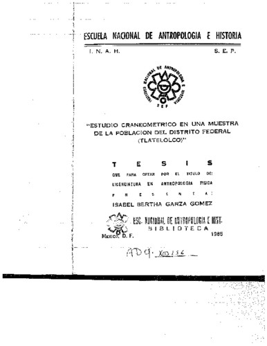Estudio craneométrico en una muestra de la población del Distrito Federal (Tlatelolco)