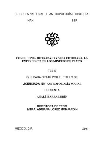 Condiciones de trabajo y vida cotidiana: la experiencia de los mineros de Taxco