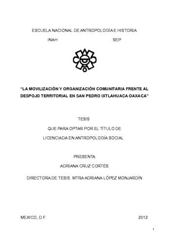 """""""La movilización y organización comunitaria frente al despojo territorial en San Pedro Ixtlahuaca, Oaxaca"""""""