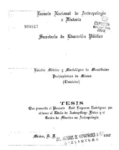 Estudio métrico y morfológico de mandíbulas prehispánicas de México (Tlatelolco)