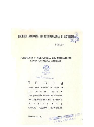 Fonología y morfología del nahuatl de Santa Catarina, Morelos