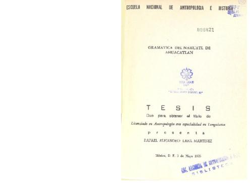 Gramática de nahuatl de Ahuacatlán