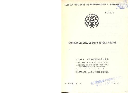 Fonología del Chol de Salto de Agua, Chiapas